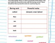 Powerful verbs worksheet