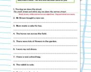 Practise adding adjectives worksheet