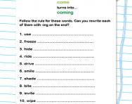 Practise the -ing rule worksheet