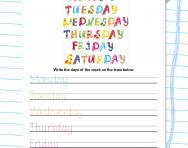 Practise writing the days of the week