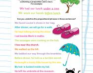 Prepositional phrases worksheet