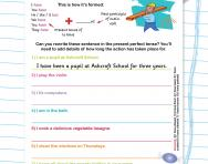 Present perfect: writing your own sentences worksheet