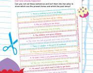 Present tense and past tense jumbled-up sentences worksheet