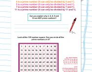 Prime numbers worksheet