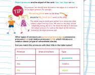 Pronouns revision worksheet