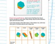 Properties of prisms: parallel planes worksheet