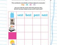 Reading adjacent consonants: mp, nt, st and nk worksheet