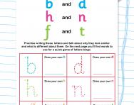 Reading and writing b and d, h and n, f and t worksheet
