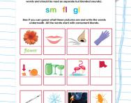 Reading and writing consonant blends: sm fl gl worksheet