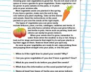Reading comprehension practice: Growing vegetables worksheet