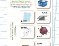 Recognise and name common materials worksheet