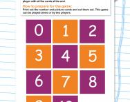 Recognising numbers memory game