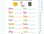 Recognising short vowels in CVC words worksheet