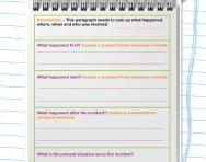 Recount planning frame worksheet