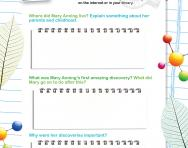 Research Mary Anning worksheet