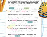 Revise subject and verb agreement and verb tenses worksheet