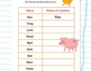 Rhyming words: creatures word puzzle