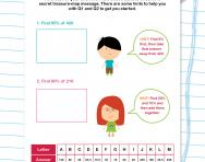Secret message percentages worksheet