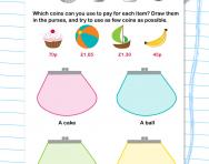 Selecting coins (up to £1) worksheet