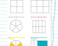 Shading and naming fractions of shapes activity