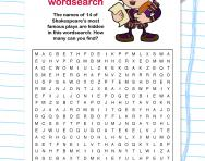 Shakespeare plays wordsearch