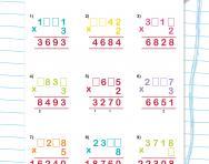 Short multiplication with missing digits worksheet