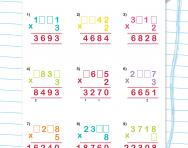Short multiplication with missing digits worksheet