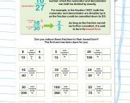 Simplifying or reducing fractions worksheet