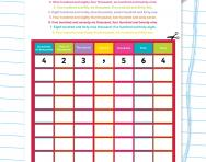 Six-digit numbers: place value grids