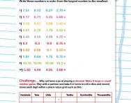 Sort decimal numbers by size worksheet