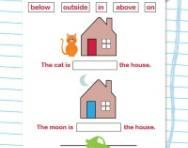 Spatial awareness vocabulary worksheet