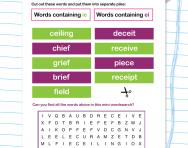 Spelling patterns: ie and ei in a word