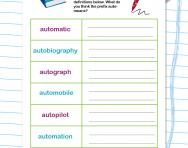 Spelling patterns: the prefix auto-