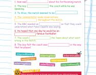 Spelling patterns: the prefix inter- football worksheet