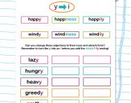 Spelling patterns: turning adjectives ending -y into nouns and adverbs