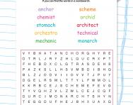 Spelling patterns wordsearch: words containing 'ch' as a /k/ sound