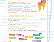 Spelling patterns: words ending -cial / -tial football worksheet