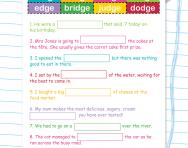 Spelling patterns worksheet: words ending -dge
