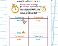 Spelling patterns: words ending in vowels