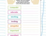 Spelling words with three syllables worksheet