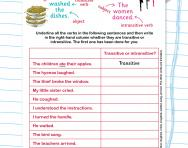Spotting transitive and intransitive verbs worksheet