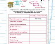 Spotting transitive and intransitive verbs worksheet