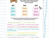Spotting trigraphs football worksheet