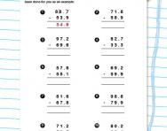 Subtracting decimal numbers worksheet