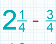 Subtracting fractions including mixed numbers tutorial