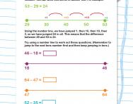Subtracting two-digit numbers on a number line worksheet