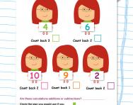 Subtraction: counting back worksheet