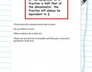 Test a statement about fractions worksheet