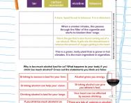 The dangers of cigarettes and alcohol worksheet