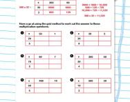 The multiplication grid method for big numbers worksheet
